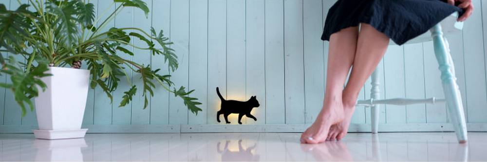 Cat Silhouette Wall Light - Detail