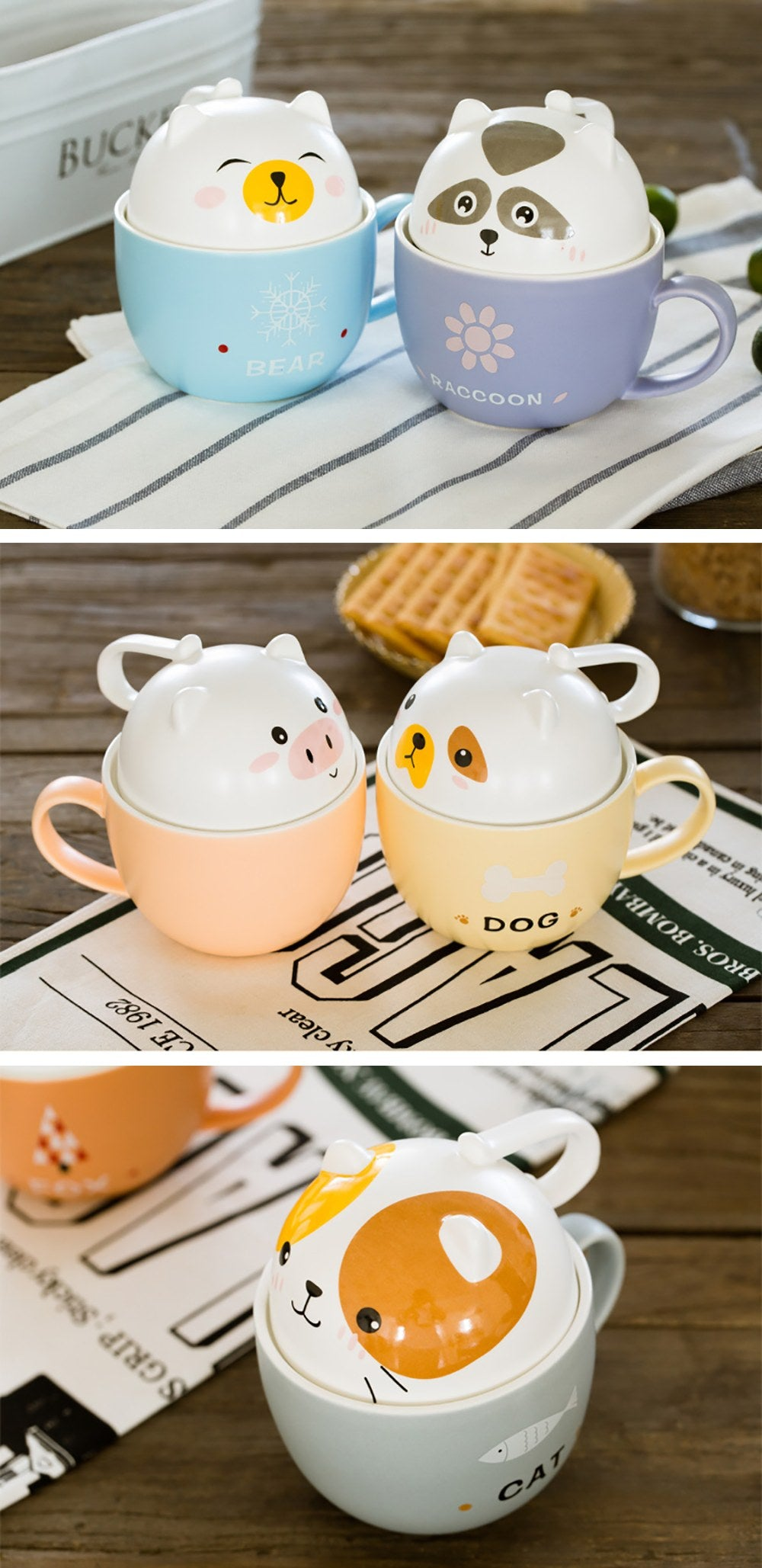 Cute Animal Ceramic Mug - detail