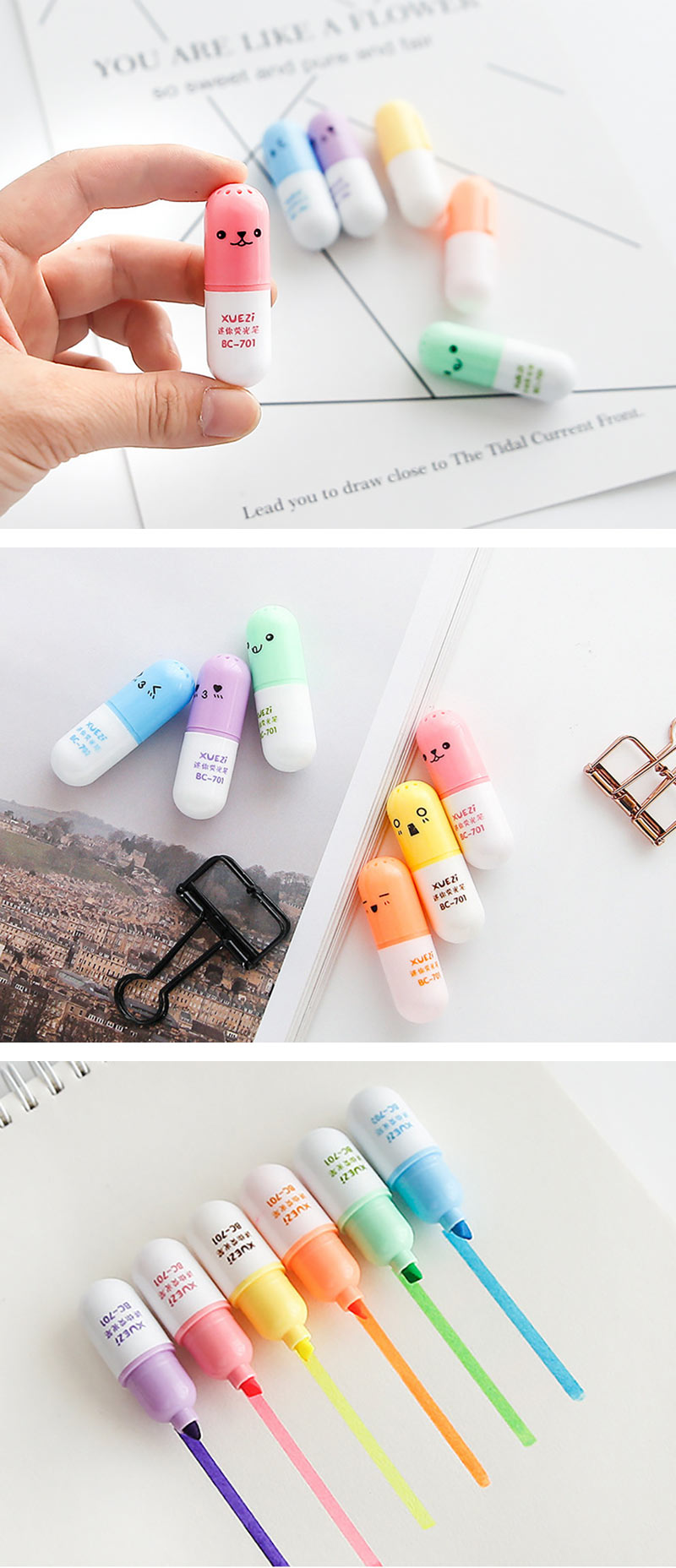 Emoticon Mini Pill Highlighter 6 Colors Pack - Detail