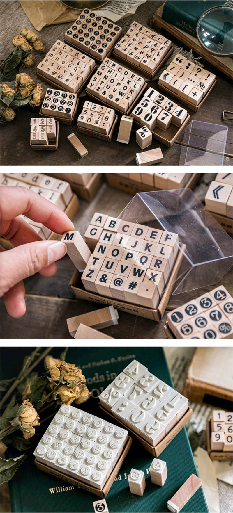 English Alphabet Wooden Stamp Set - Detail