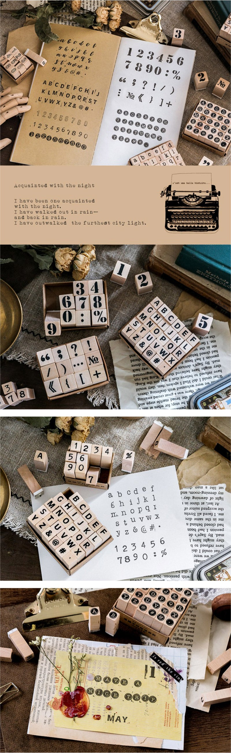 English Alphabet Wooden Stamp Set - Usage