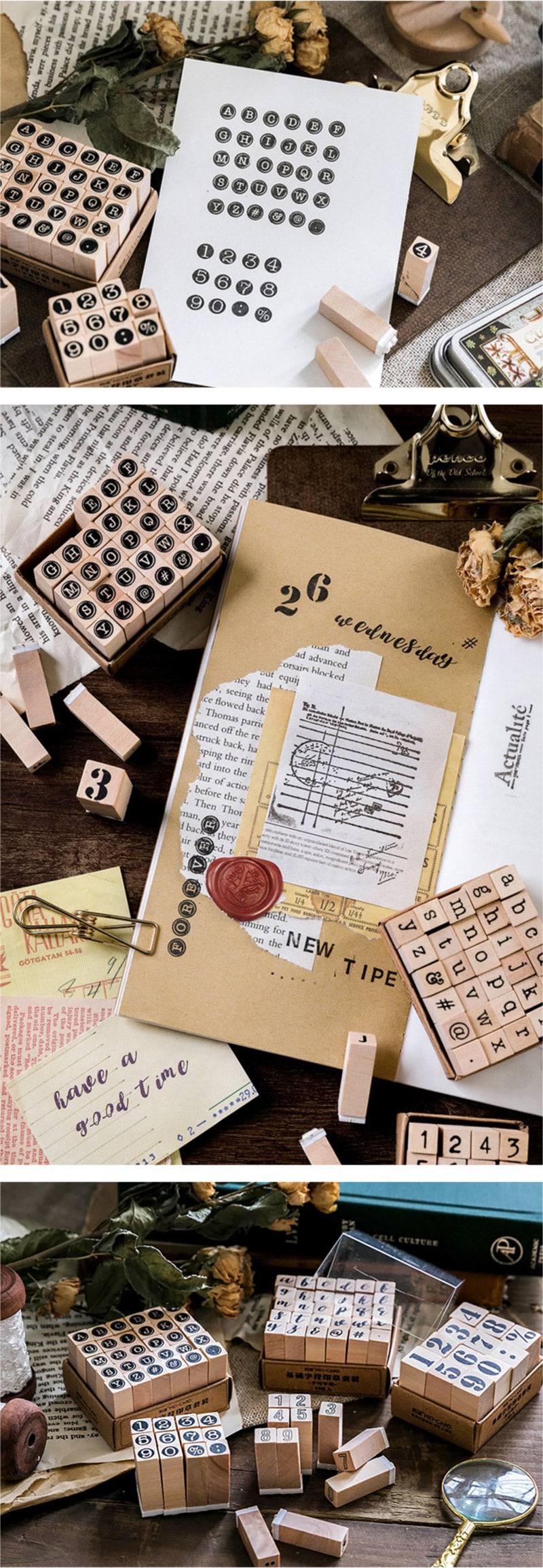 English Alphabet Wooden Stamp Set