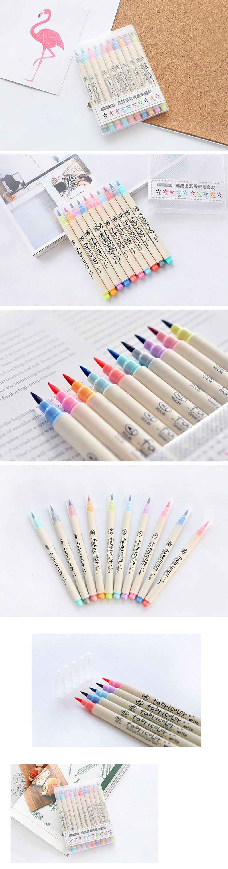 Fabricolor Brush Marker Pen 10 Pcs Colors Set - Detail