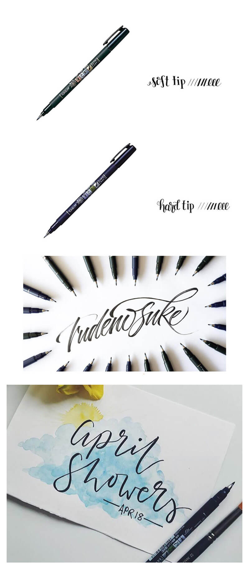 Fudenosuke Brush Pen Hard and Soft Tips (Black) - Detail