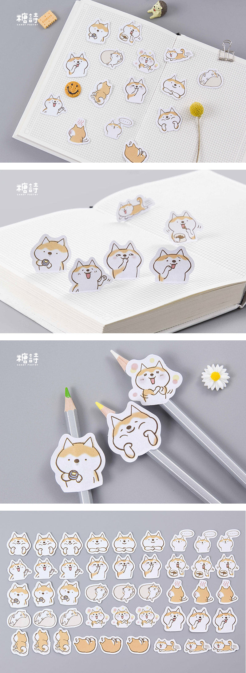 Happy Corgi Dog Cartoon Paper Stickers 45 Pcs - Detail