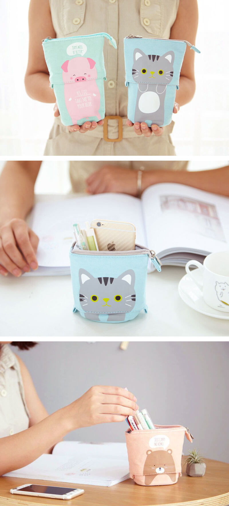 Kawaii Animal Stand-Up Foldable Pencil Case - Detail