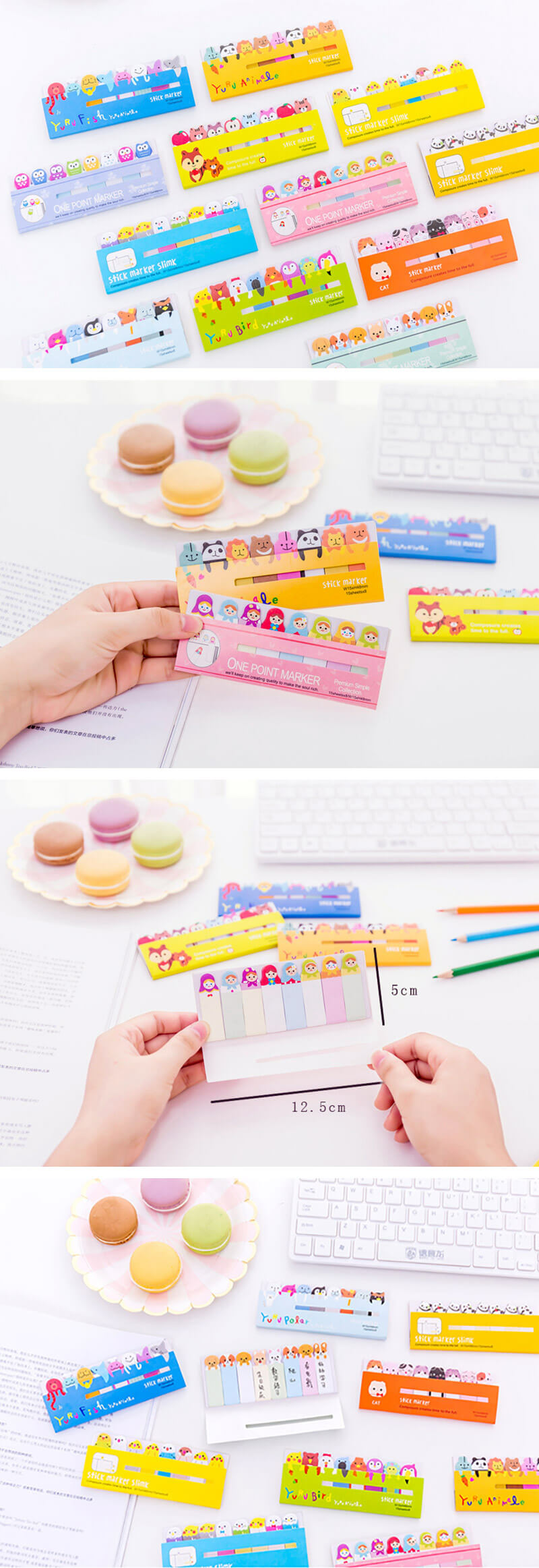 Kawaii Colorful Animal Bookmarks Paper Sticky Notes - Detail