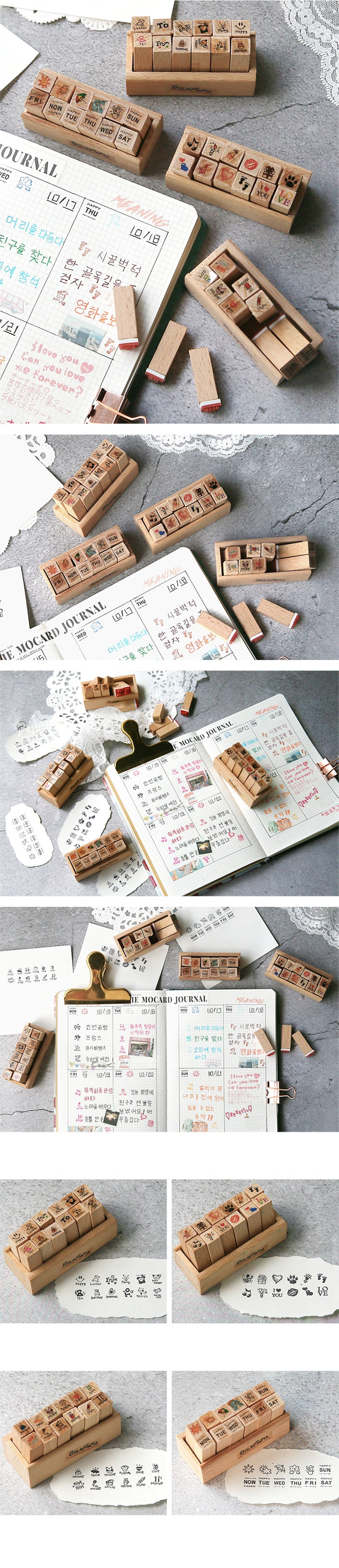 Kawaii Daily Planner Wooden Stamp Set - Detail