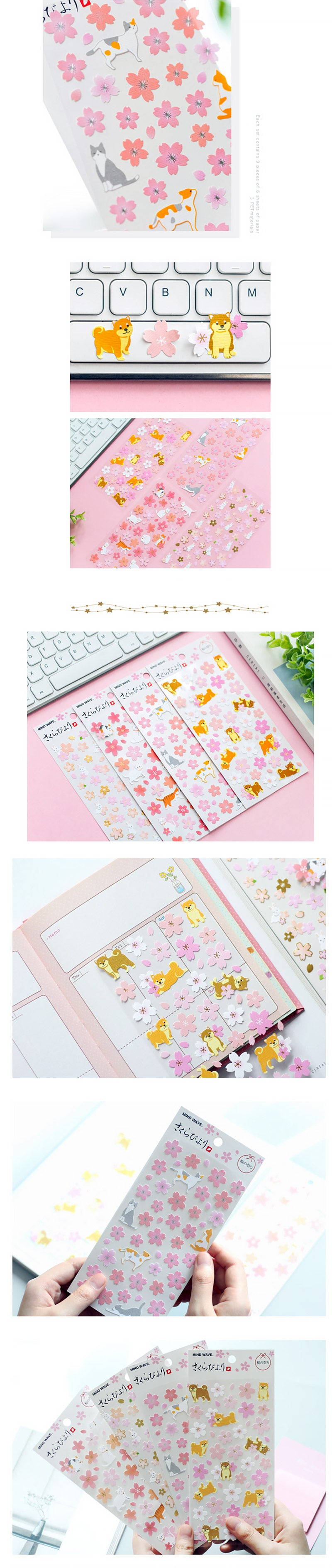 Kawaii Sakura Blossom and Animal Cartoon Stickers - Detail
