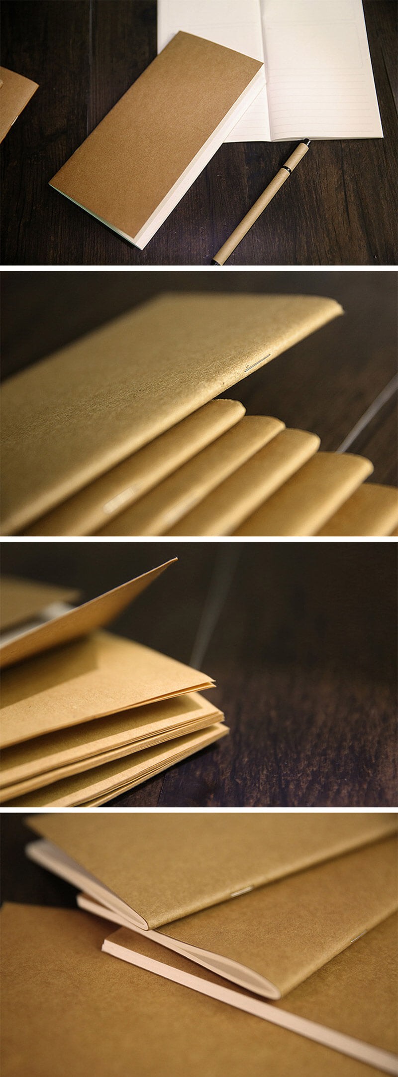 Kraft Paper Travel Planner Notebook Dotted Lined Grid Blank - Detail