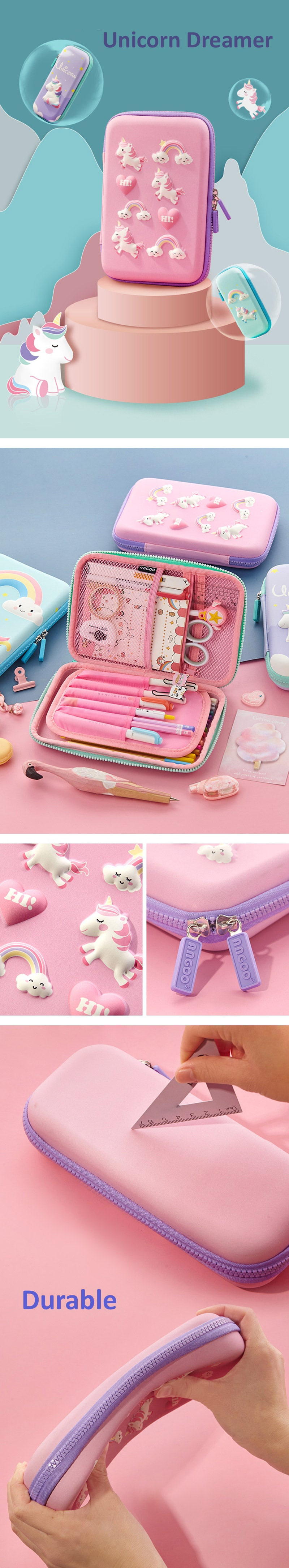 Large Zippered Unicorn Dinosaur Hardtop Organizer Pencil Case - Detail