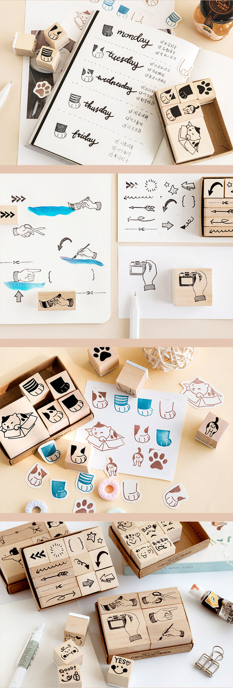 Life Style Wooden Stamp Set - Detail