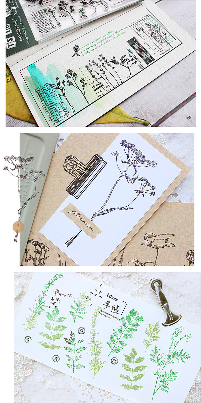 Natural Theme Acrylic Clear Stamp for Journaling - Detail