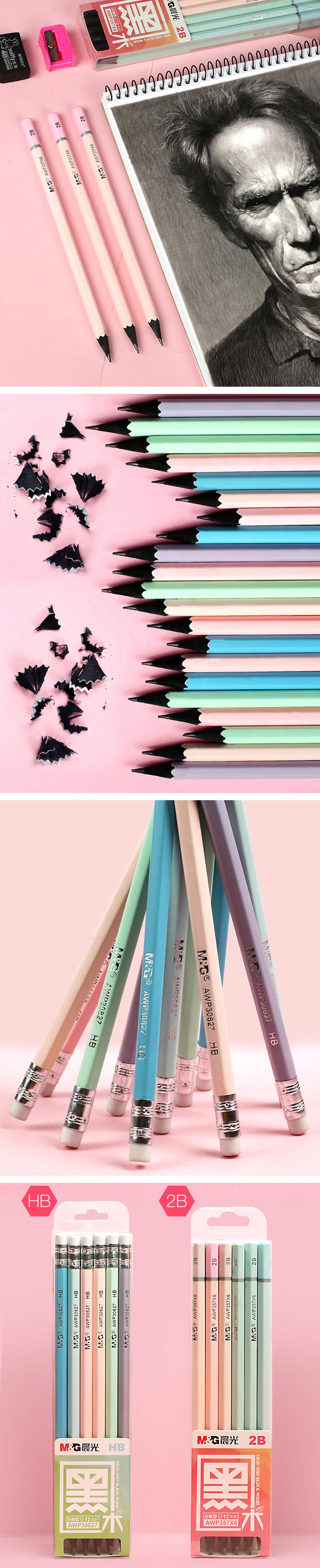 Pastel Black Wood HB 2B Pencil 12 Pcs Set - Detail