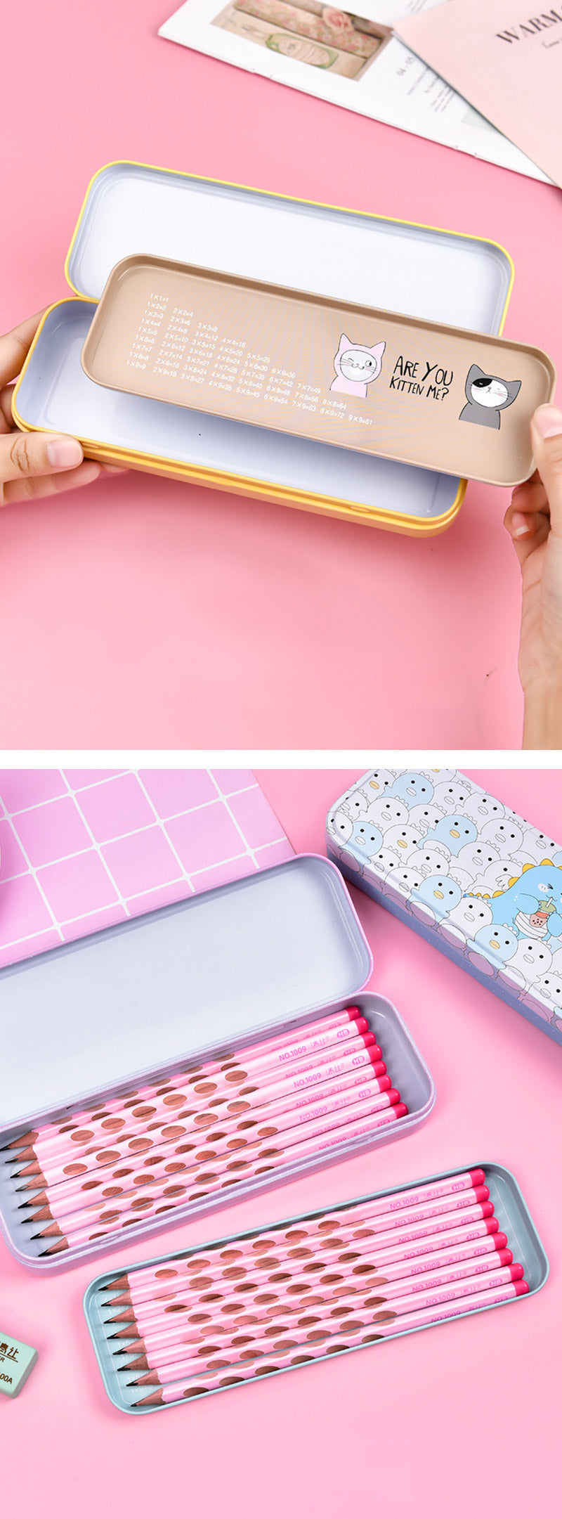 Pastel Color Cartoon Two Layers Metal Pencil Box Bundle- Detail