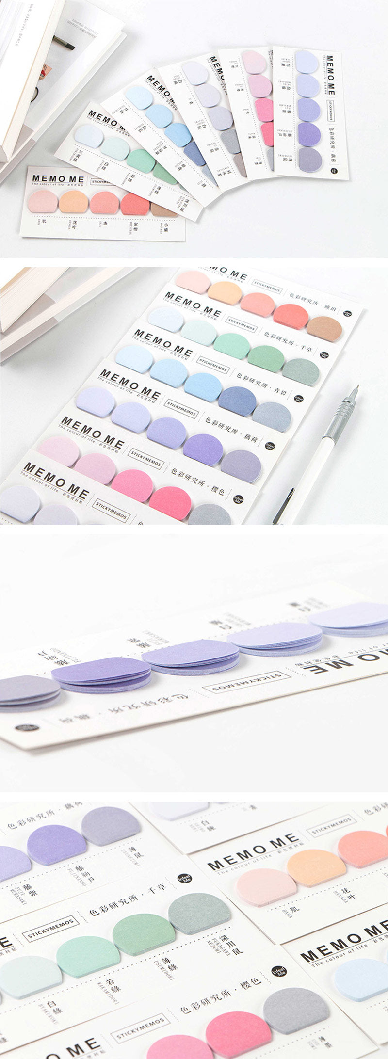Pastel Gradient Mini Sticky Memo Pads - Detail