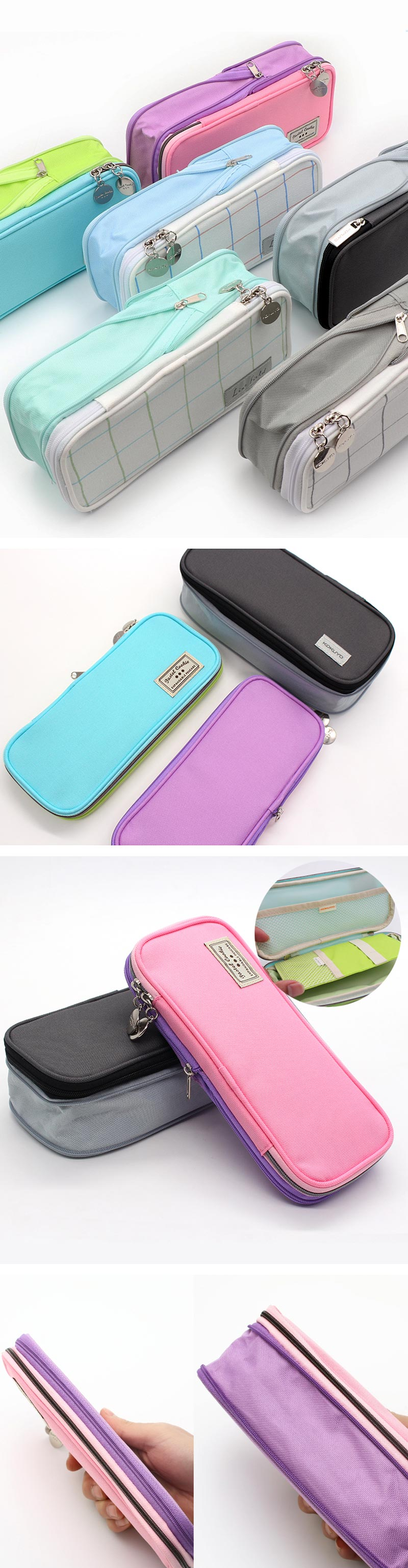 Pastel Zippered Large Foldable Pencil Case - Detail