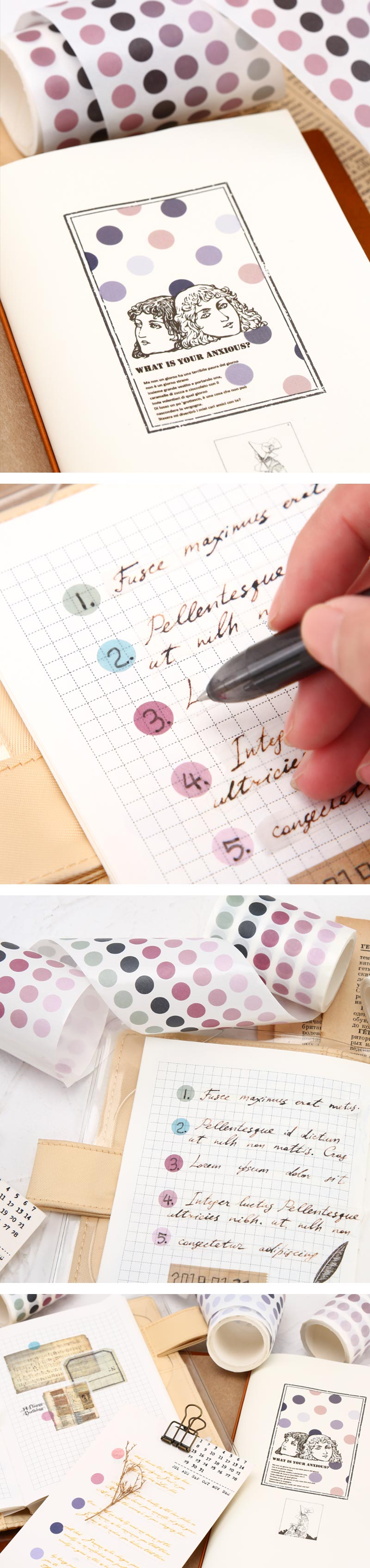 Polka Dot Pastel Color Gradient Washi Tape Style Sticker - Detail