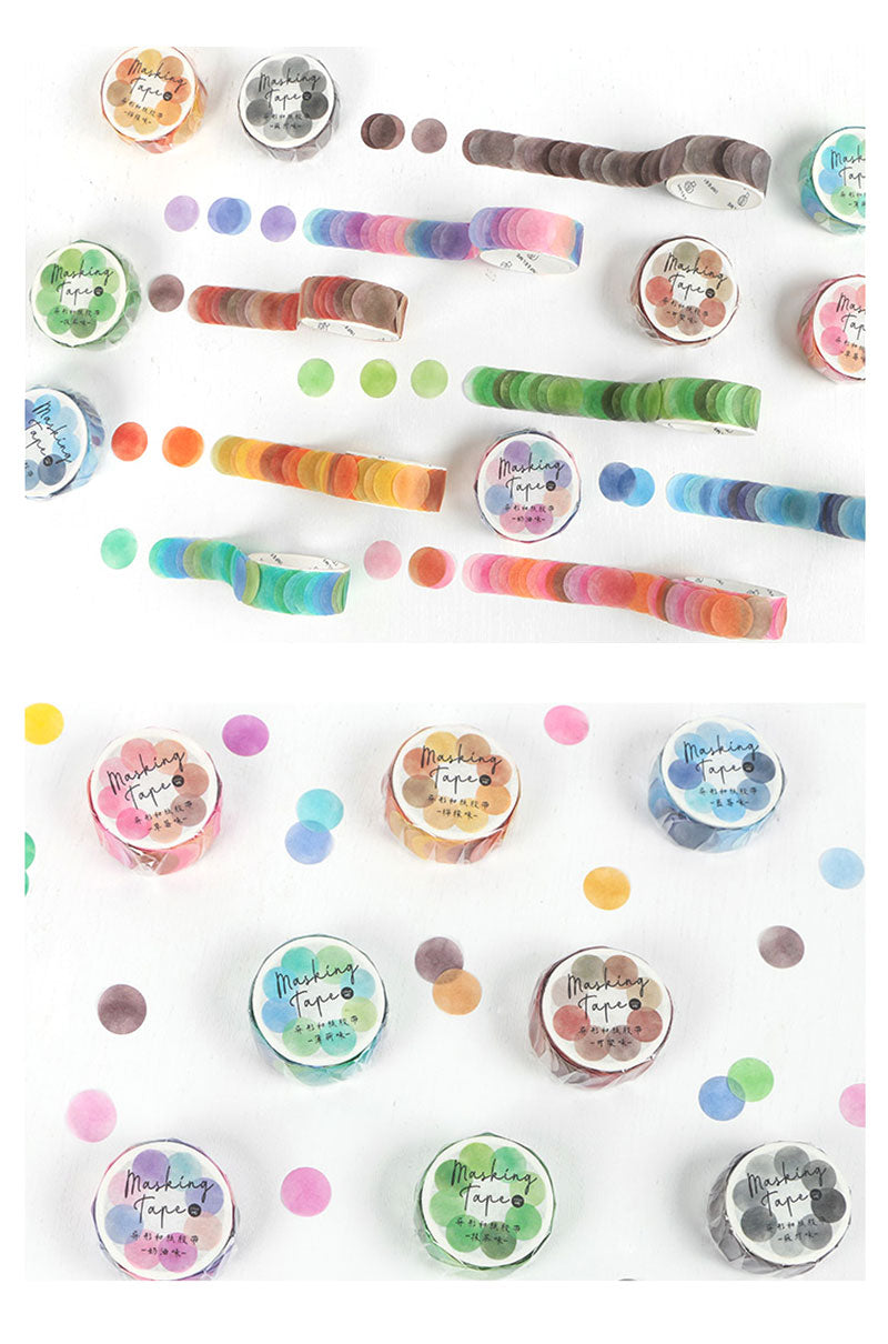 Polka Dot Watercolor Masking Tape Stickers - Detail