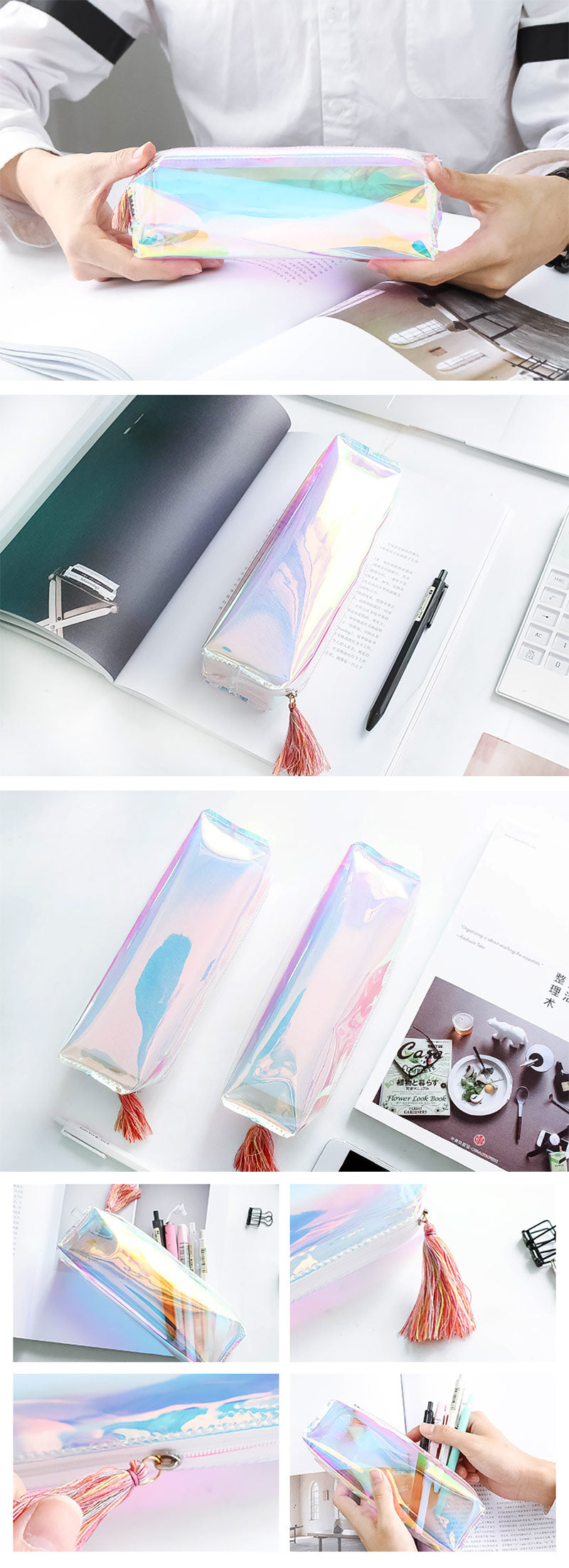 Rainbows Holographic Transparent Pen Case - Detail