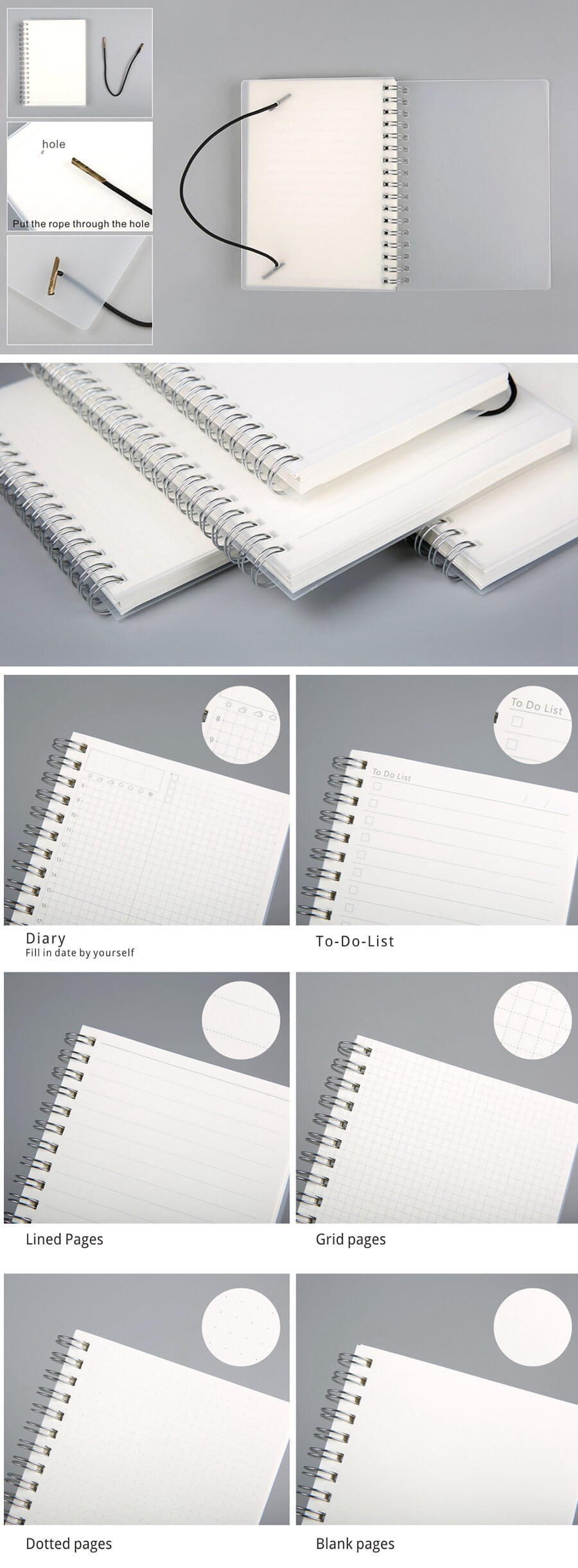 Spiral Bound Notebook Dotted Lined Grid A6/A5/B5 - Detail