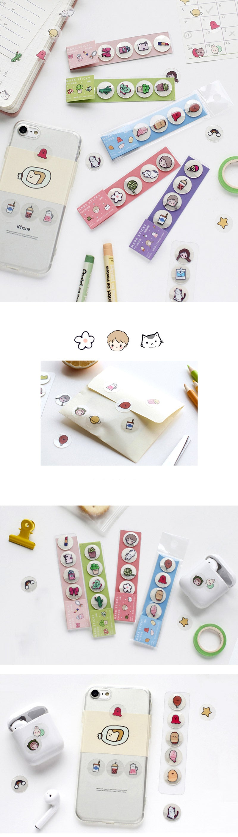 Translucent Kawaii Cartoon Stickers - Detail