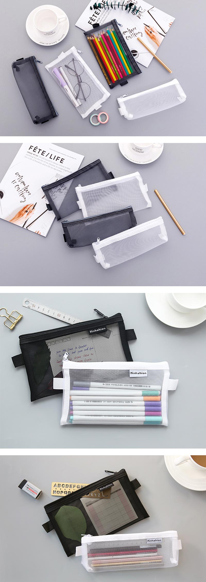 Transparent Mesh Zipper Pencil Case - Detail