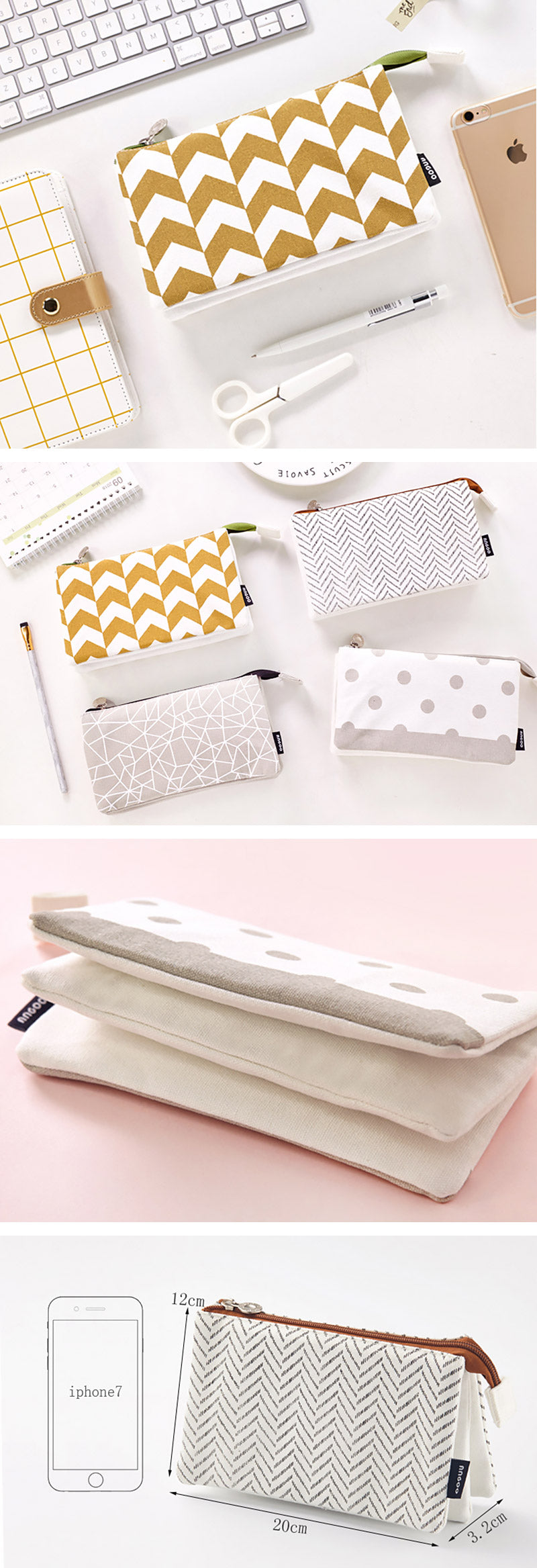 Triple Pouch Dual Zipper Pencil Case - Detail