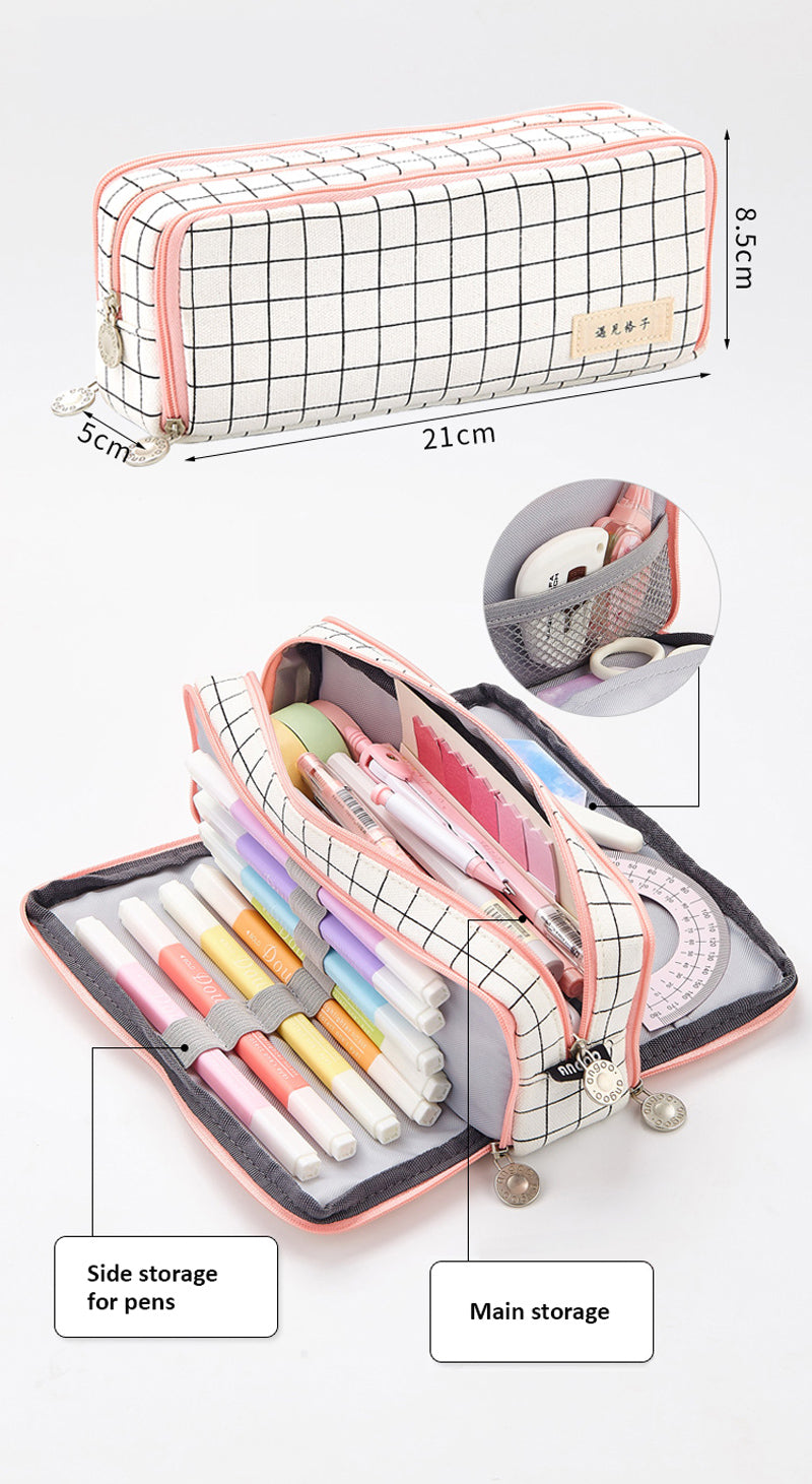 Triple Zipper Pencil Case - Detail