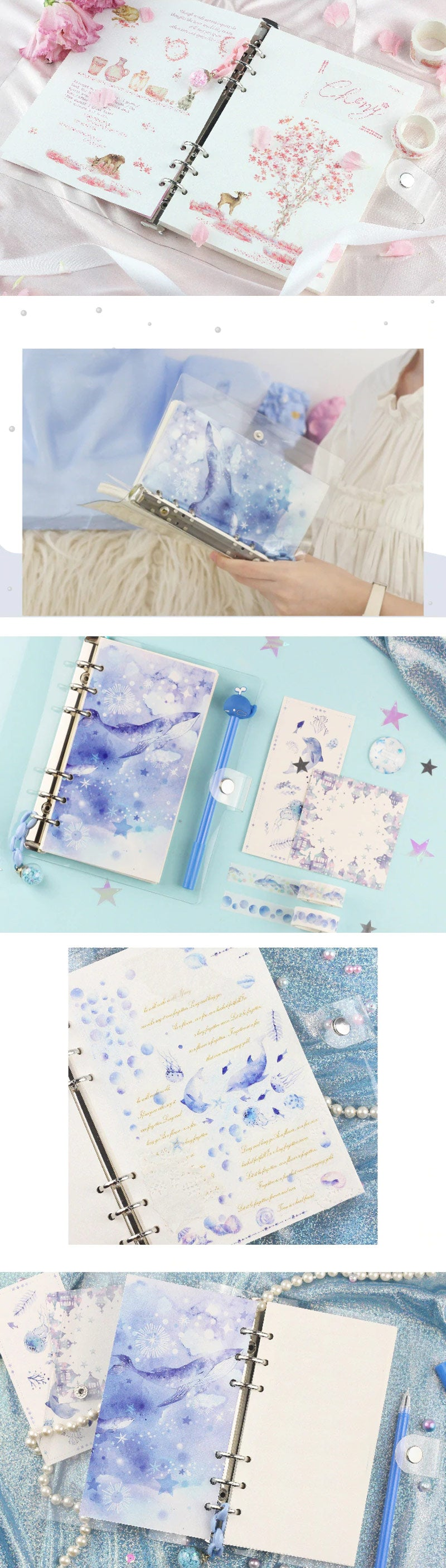 Unicorn Loose Leaf Notebook Binder Set - Detail