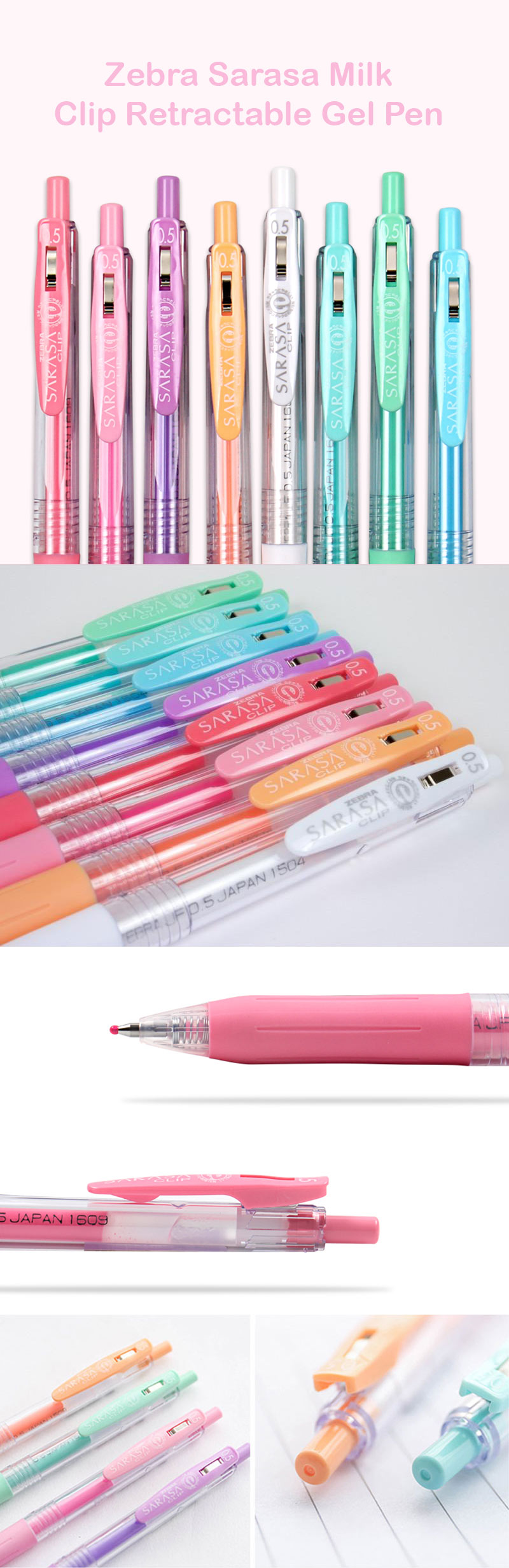 Zebra Sarasa Milk Color Clip Retractable Gel Pen Set - Detail