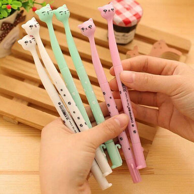 Kawaii Cartoon Cat Gel Pen 4 Colors Set Black Ink