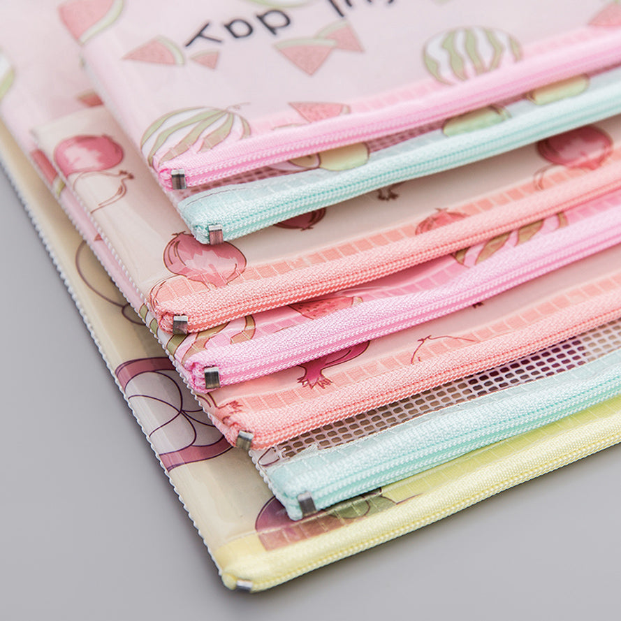 Transparent Zipper Grid Pencil Pouch Pack