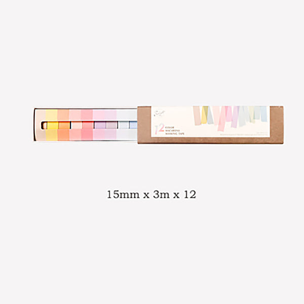 7 Pastel Colors Washi Tape 12 Rolls Set, Wide Tape
