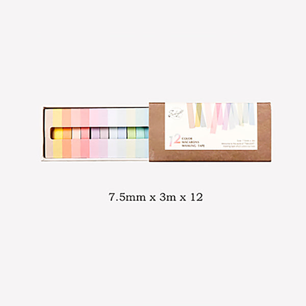7 Pastel Colors Washi Tape 12 Rolls Set, Narrow Tape