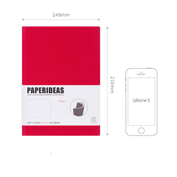 A5 Soft Cover Journal Notebook (Dot/Grid/Line/Blank), Red / Dotted