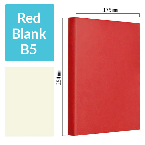 B5 256 Pages Soft Cover Journal Notebook (Cornell/Grid/Line/Blank), Red / Blank