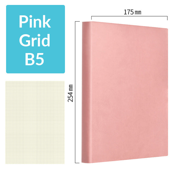 B5 256 Pages Soft Cover Journal Notebook (Cornell/Grid/Line/Blank), Pink / Grid