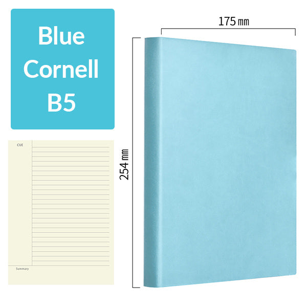 B5 256 Pages Soft Cover Journal Notebook (Cornell/Grid/Line/Blank), Blue / Cornell