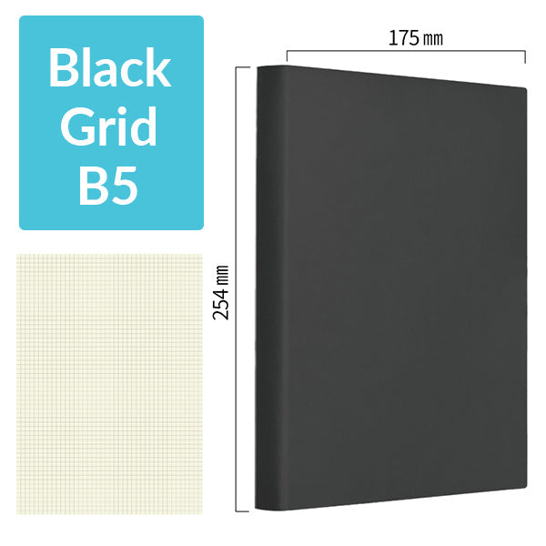 B5 256 Pages Soft Cover Journal Notebook (Cornell/Grid/Line/Blank), Black / Grid