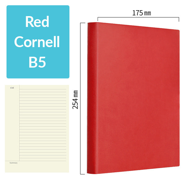 B5 256 Pages Soft Cover Journal Notebook (Cornell/Grid/Line/Blank), Red / Cornell