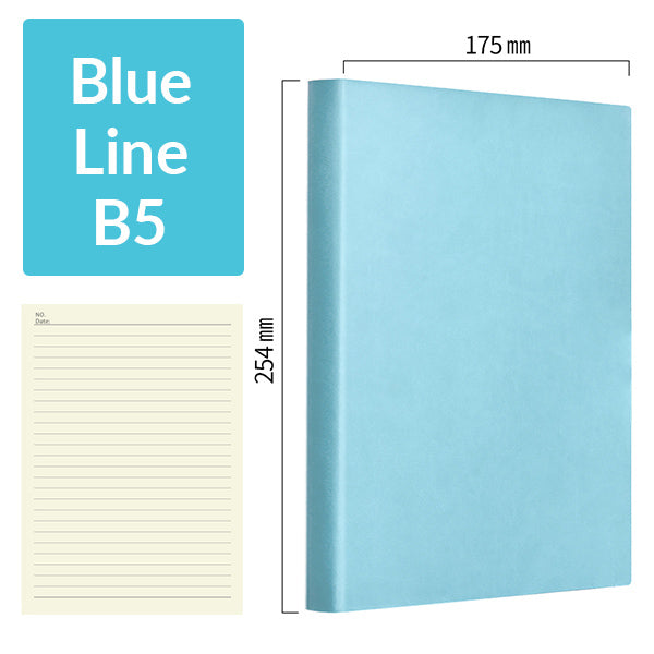 B5 256 Pages Soft Cover Journal Notebook (Cornell/Grid/Line/Blank), Blue / Line