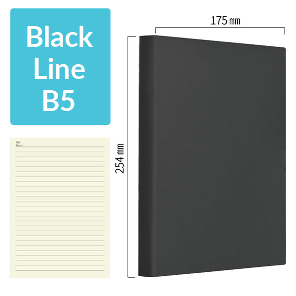 B5 256 Pages Soft Cover Journal Notebook (Cornell/Grid/Line/Blank), Black / Line