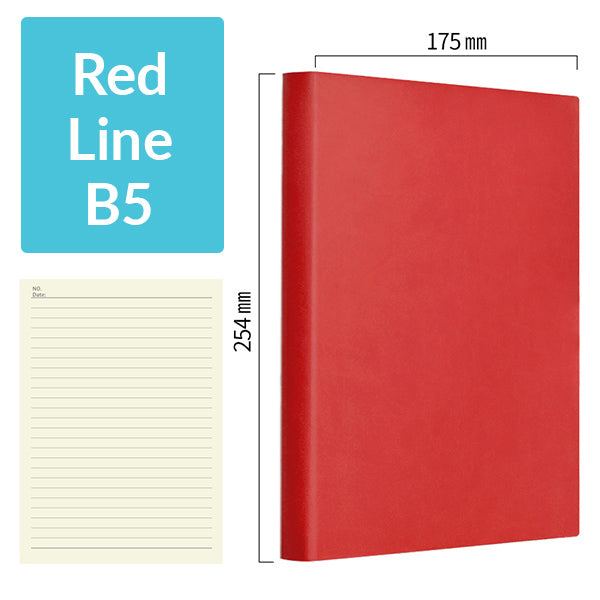 B5 256 Pages Soft Cover Journal Notebook (Cornell/Grid/Line/Blank), Red / Line