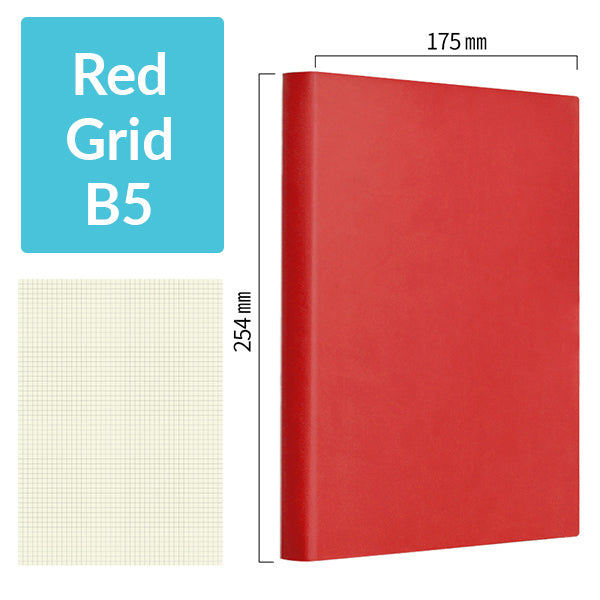 B5 256 Pages Soft Cover Journal Notebook (Cornell/Grid/Line/Blank), Red / Grid