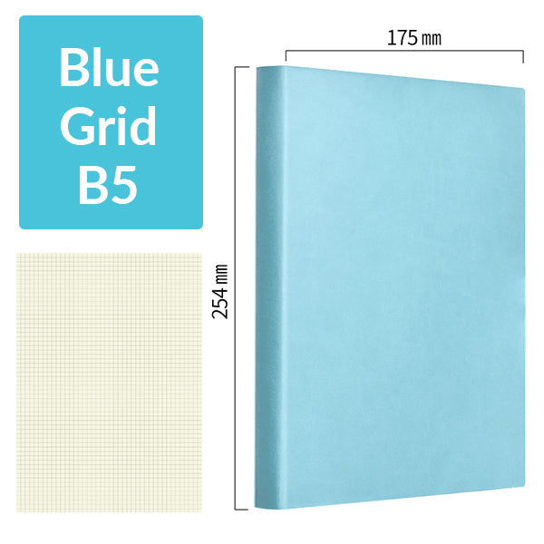 B5 256 Pages Soft Cover Journal Notebook (Cornell/Grid/Line/Blank), Blue / Grid
