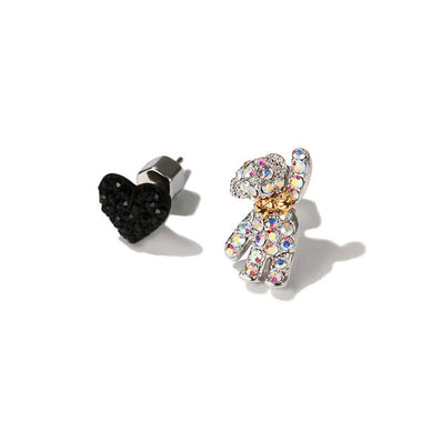 Bow Tie Teddy Bear and Heart Earrings