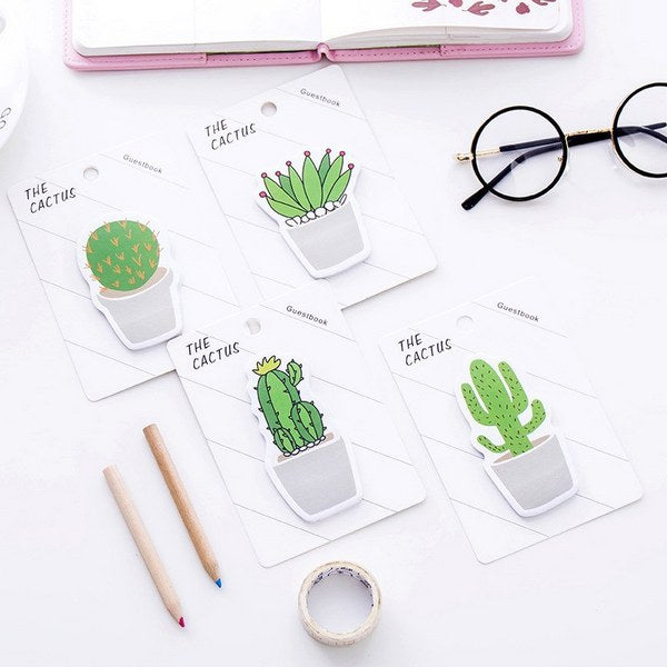 Cactus Sticky Note 4 Pads Pack, 4 Pads Set