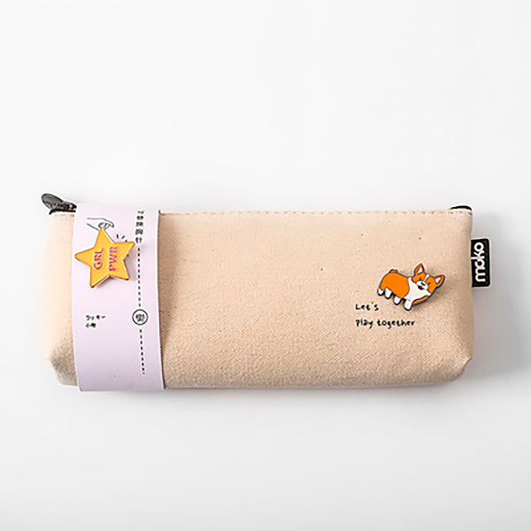 Canvas Pencil Pouch with Brooch, Wheat