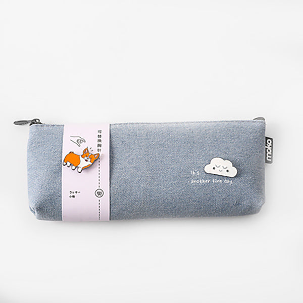 Canvas Pencil Pouch with Brooch, Grey
